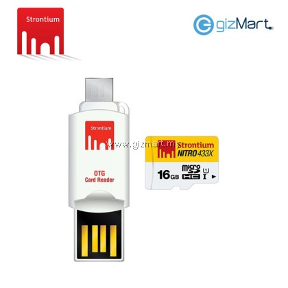 STRONTIUM 16GB MICRO SDHC UHS-1 CARD WITH OTG CARD READER NITRO 65MB/S