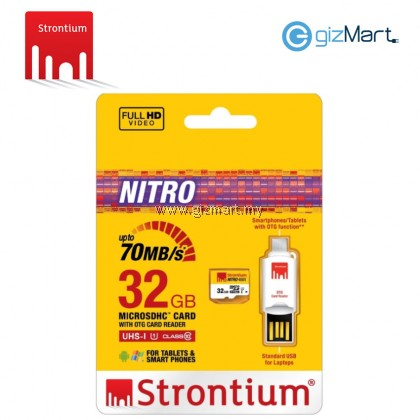 STRONTIUM 32GB MICRO SDHC UHS-1 CARD WITH OTG CARD READER NITRO 65MB/S