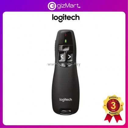 Logitech R400 Wireless Presenter with Red Laser, 2.4GHz Wireless Connection, Intuitive Slideshow Controls, Up To 15 Meter Range, Battery Indicator, Plug and Play Wireless Receiver (910-001361)