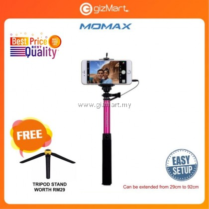 Momax KMS1C Selfie Easy Tripod 92cm with tripod stand (Pink)