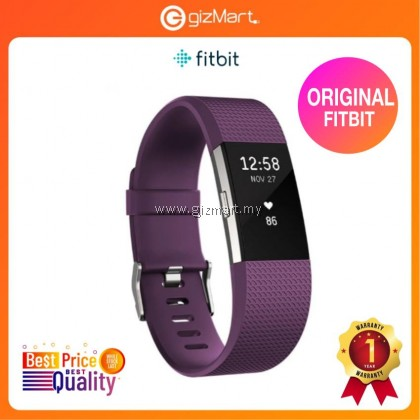 Original Fitbit Charge 2 Heart Rate + Fitness Wristband - Plum Silver (Small FB407SPMS / Large FB407SPML)