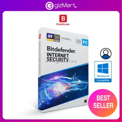 Bitdefender Internet Security 2021 - 1 User | 1 Year (License Key Only)