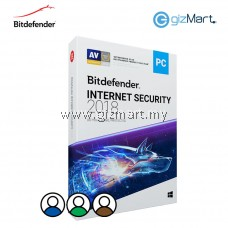 Bitdefender Internet Security 2018 - 3 Users | 1 Year (License Key Only)