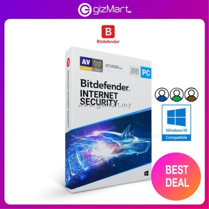 Bitdefender Internet Security 2021 - 3 Users | 1 Year (License Key Only)