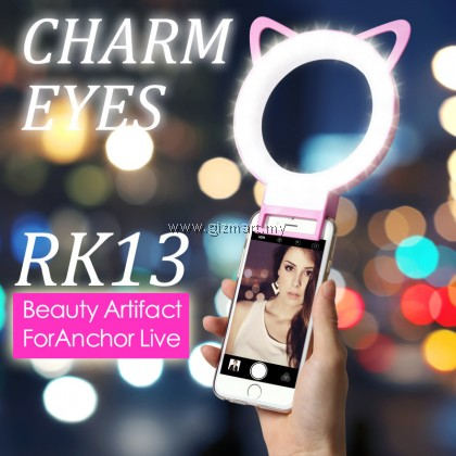 Fashion Charm Eyes RK13 Cat Ear LED Rechargeable Clip Selfie Ring Light (Pink)