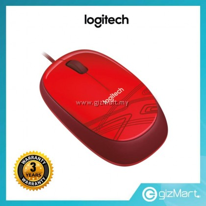 Logitech M105 Corded Mouse - Red (910-002933)