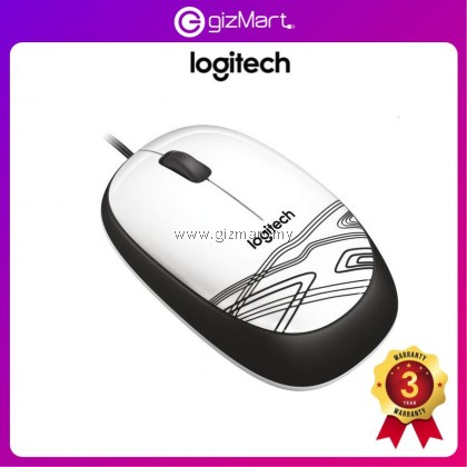 Logitech M105 Corded Mouse - White (910-002932)