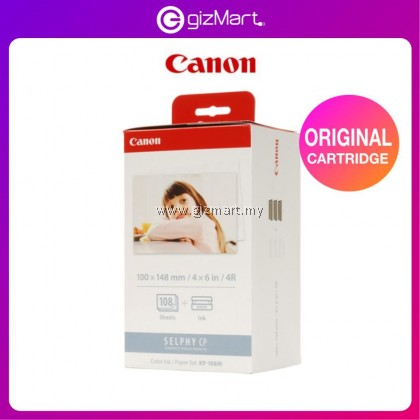 Canon Selphy KP-108IN KP108 KP-108 4R Ink and Photo Paper Set for Canon Selphy CP1300/CP1200/CP910/CP900/CP760/CP770/CP780 (108 Sheets)