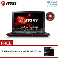 "MSI GP62 6QF-1475MY LEOPARD PRO 15.6"" GAMING LAPTOP (i7/GTX960m/4G/128G+1T/Win10) + FREE Bitdefender Internet Security 1 User"