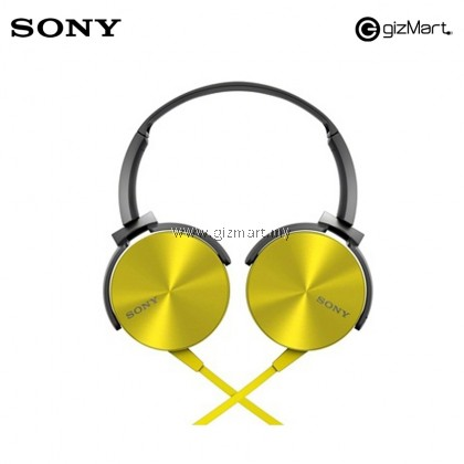 ORIGINAL Sony Extra Bass MDR-XB450AP On-Ear Headphones with Mic (Yellow)