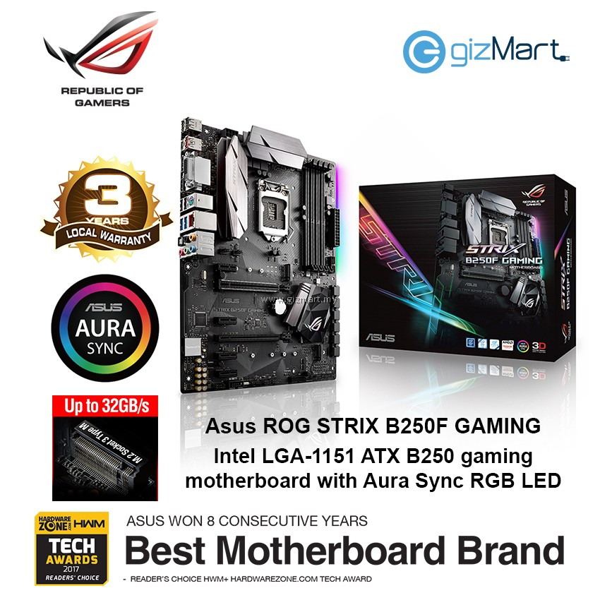 ASUS ROG STRIX B250F Gaming Lga1151 Motherboard | gizMart my