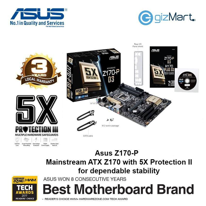 Asus Z170-P D3 LGA1151 Motherboard | gizMart my | Gadgets