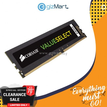 Corsair VALUESELECT 4GB DDR4 2400MHz Desktop RAM (CMV4GX4M1A2400C16)