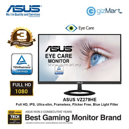 "Asus VZ279HE 27"" Ultra Slim IPS Monitor (FHD, Frameless, 5ms, HDMI, D-Sub, Flicker-free, Low Blue Light, TUV Certified)"