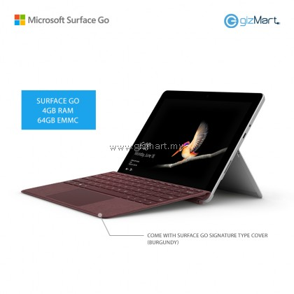 Microsoft Surface Go - 64GB / 4GB RAM + Signature Type Cover (Burgundy)