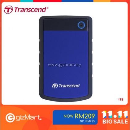 Transcend Storejet 25H3 1TB USB 3.0 Portable Hard Drive-Blue