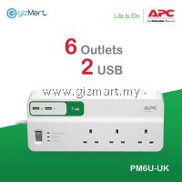 APC Essential SurgeArrest 6 outlets with 5V, 2.4A 2 port USB charger, 230V UK PM6U-UK