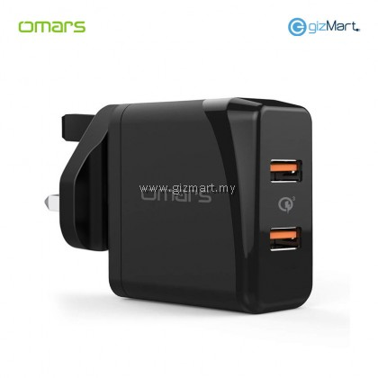 OMARS Quick Charge 3.0 Dual Port USB Wall Charger (Black)