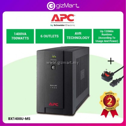 APC Back-UPS 1400VA, 230V, AVR, Universal and IEC Sockets (BX1400U-MS)