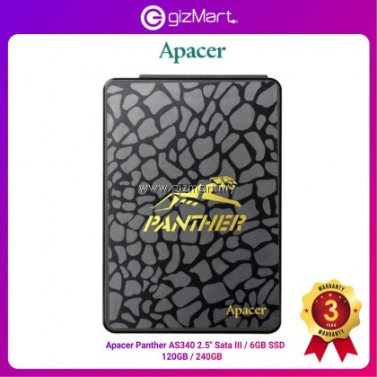 """Apacer AS340 Panther 2.5"""" Sata III 120GB (AP120GAS340G-1) / 240GB (AP240GAS340G-1) Solid State Drive"""