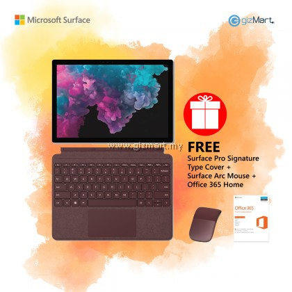 [NEW] Microsoft Surface Pro 6 i7 / 512GB - 16GB RAM (Platinum) + Type Cover + Surface Arc Mouse + Office 365 Home