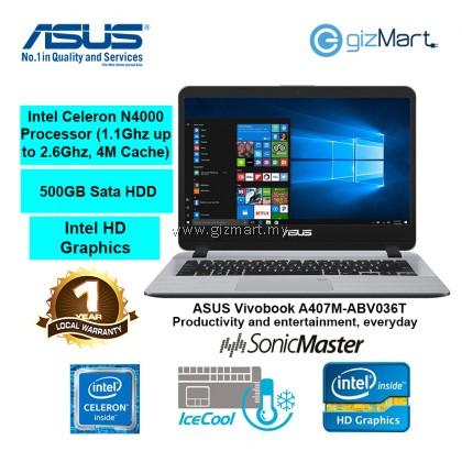 "ASUS Vivobook A407M-ABV036T 14"" Laptop-Grey (N4000, 4GB, 500GB, Win10)"
