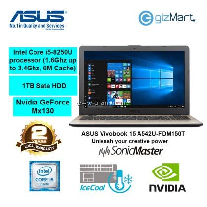 "ASUS Vivobook 15 A542U-FDM150T 15.6"" Laptop-Gold (i5-8250U, 4GB, 1TB, Mx130, Win10)"