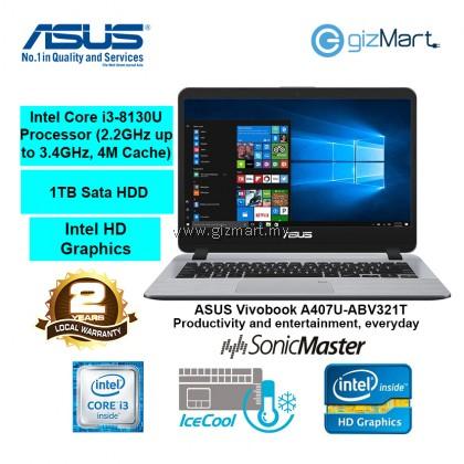 "ASUS Vivobook A407U-ABV321T 14"" Laptop-Grey (i3-8130U, 4GB, 1TB, Win10)"