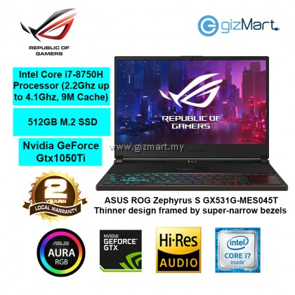"ASUS ROG Zephyrus S GX531G-MES045T 15.6"" Gaming Laptop-Metal Black (i7-8750H, 16GB, 512GB, Gtx1060, Win10)"