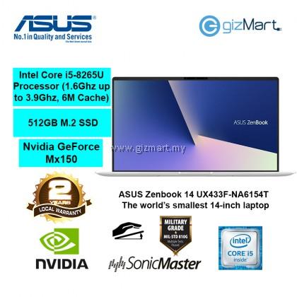 "ASUS Zenbook 14 UX433F-NA6154T 14"" Laptop-Silver (i5-8265U, 8GB, 512GB, Mx150, Win10)"