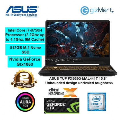 "ASUS TUF FX505G-MAL441T 15.6"" Gaming Laptop-Gold Steel (i7-8750H, 8GB, 512GB, Gtx1050Ti, Win10)"