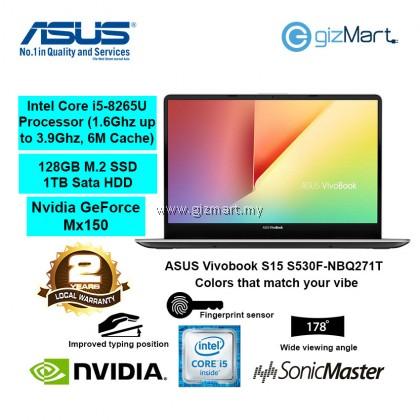 """ASUS Vivobook S15 S530F-NBQ271T 15.6"""" Laptop-Gun Metal (i5-8265U, 4GB, 1TB+128GB, Mx150, Win10)"""