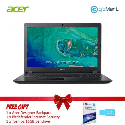 """Acer Aspire 3 A315-41-R7YQ 15.6"""" Laptop Black (Ryzen 3 2200U, 4GB, 128GB, ATI, W10) + FREE Gift"""