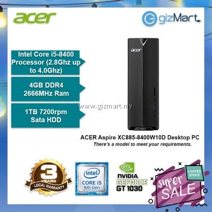 ACER Aspire XC885-8400W10D Desktop PC (i5-8400, 4GB, 1TB, Gt1030, Win10)