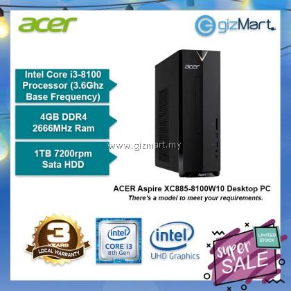 ACER Aspire XC885-8100W10 Desktop PC (i3-8100, 4GB, 1TB, Win10)