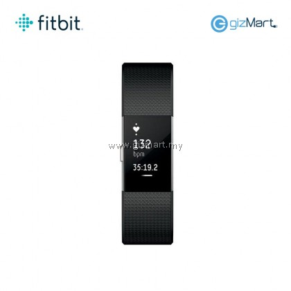 Fitbit Charge 2 Heart Rate + Fitness Wristband - Black Silver (Small FB407SBKS / Large FB407SBKL)