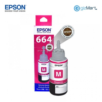 EPSON Genuine 664 70ml Bottle Ink (Black T6641 C13T664100 / Cyan T6642 C13T664200 / Magenta T6643 C13T664300 / Yellow T6644 C13T664400)