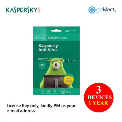 Kaspersky Anti-Virus 2019 3 Devices 1 Year (License Key Only)
