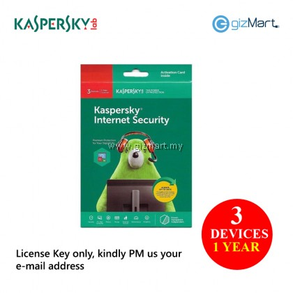 Kaspersky Internet Security 3 Devices 1 Year (License Key Only)