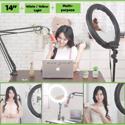 "14"" LED Ring Light Adjustable Color Temperature with Tripod for Live Broadcast & Photography"