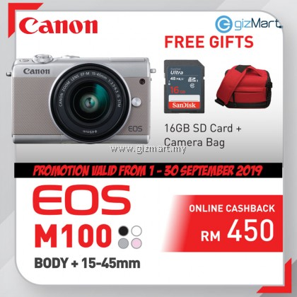 Canon EOS M100 Digital Mirrorless Camera EF-M15-45 IS STM KIT