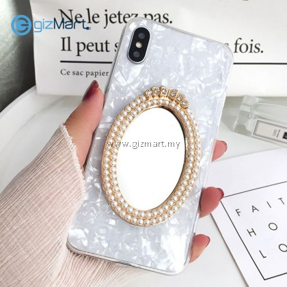 APPLE iPhone Korean Pearl Mobile Phone Tpu Fairy Case with Makeup Mirror [PREORDER]