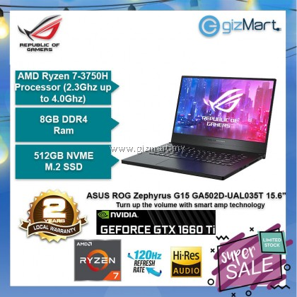 "ASUS ROG Zephyrus G15 GA502D-UAL035T 15.6"" 120Hz Gaming Laptop (Ryzen7-3750H, 8GB, 512GB, Gtx1660Ti, Win10)"
