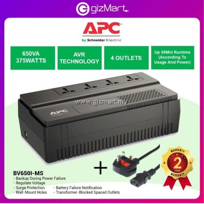 APC Back-UPS BV 650VA, Universal Outlet, 230V Battery Backup (BV650I-MS)