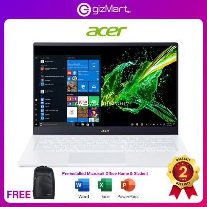 """ACER Swift 5 SF514-54T-50GD 14"""" Laptop-MoonStone White (i5-1035G1, 8GB, 512GB, Pre-installed Microsoft Office Home & Student, Win10)"""