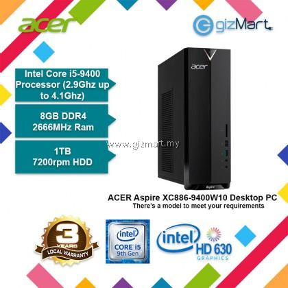 ACER Aspire XC886-9400W10 Desktop PC (i5-9400, 8GB, 1TB, Win10)