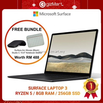"Microsoft Surface Laptop 3 15"" Ryzen 5 8GB / 256GB - Black + FREE Surface Arc Mouse"