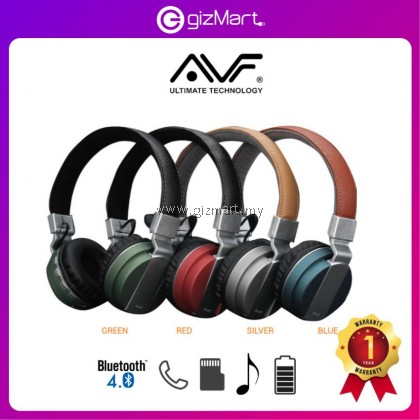 AVF HBT200 Bluetooth 4.0 Wireless Headset With SD Card Player (Silver)