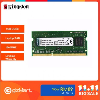 Kingston 4GB 1600MHz DDR3 Sodimm Notebook RAM (KVR16S11S8/4)