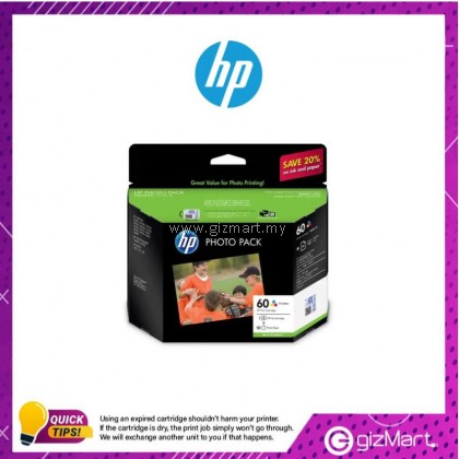 (New Sealed Expired) HP Ink Cartridge 60 Tri-Color Photo Value Pack - 50 Sheets/10 x 15cm